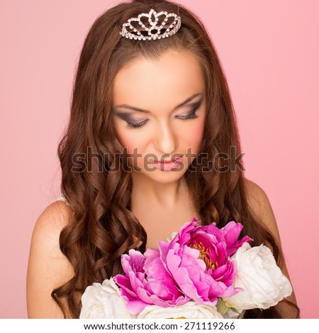 bridal, spring and beauty concept - stock photo