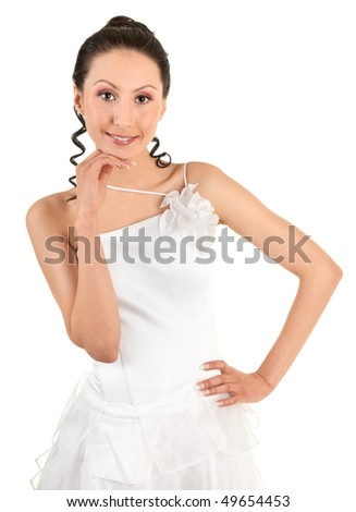 Bride. A young girl in a white dress.