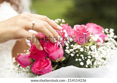 Bride and bouquet - stock photo