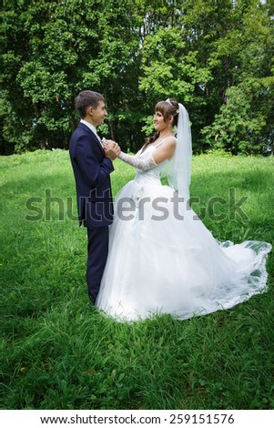 Bride and groom are dancing - stock photo