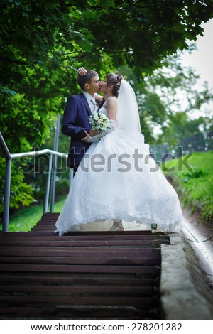 Bride and groom are kissing - stock photo