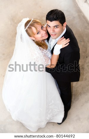 bride and groom at the wedding - stock photo