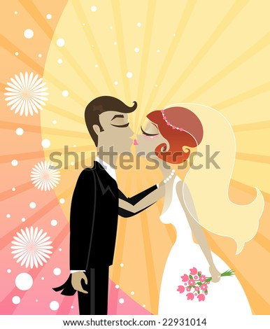 Bride and Groom begin to kiss - on a vibrant starburst background - stock photo