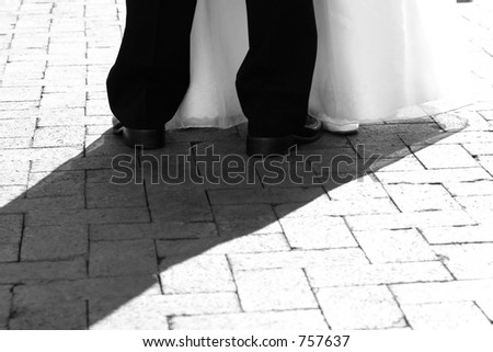 Bride and Groom dancing (Feet) - stock photo