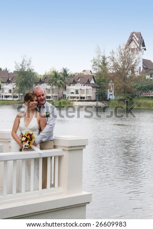 Bride and groom during their wedding day ceremony.