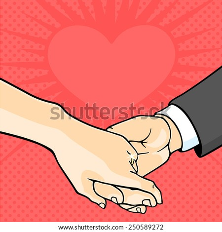 Bride and groom hands (raster version) - stock photo