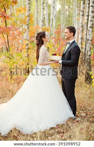 bride and groom holding wedding cake - stock photo
