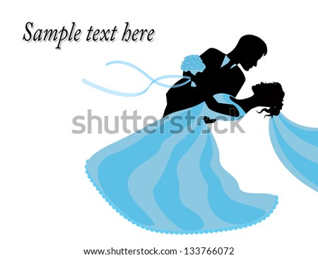 bride and groom in a blue dress standing embrace - stock photo