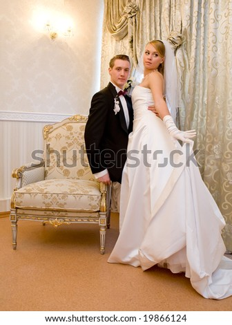 bride and groom in luxury interior