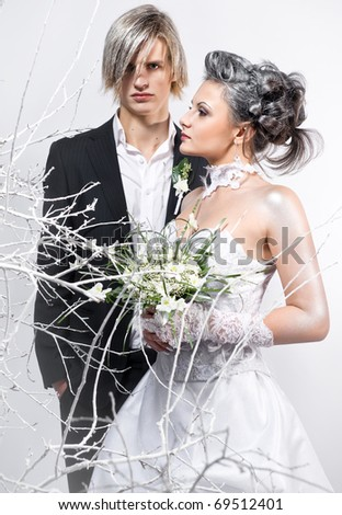 Bride and groom indoors - stock photo