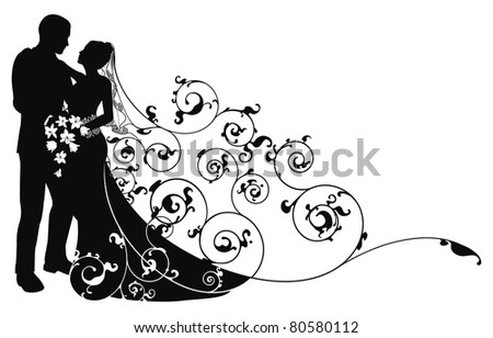 Bride and groom looking into each others eyes abstract background pattern silhouette - stock photo