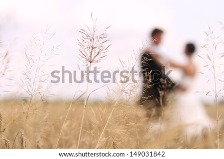 Bride and groom on a field - stock photo