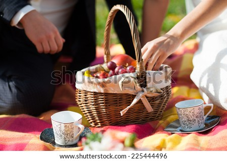 Bride and groom on a picnic - stock photo