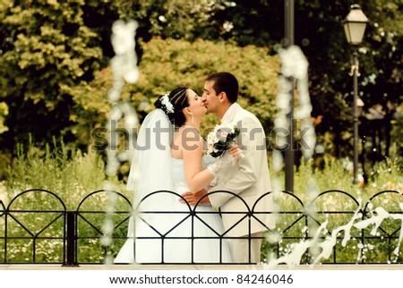 bride and groom over wedding - stock photo