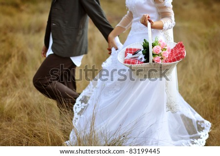 Bride and groom running on grassland - stock photo