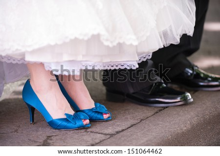 Bride and Groom's Shoes - stock photo