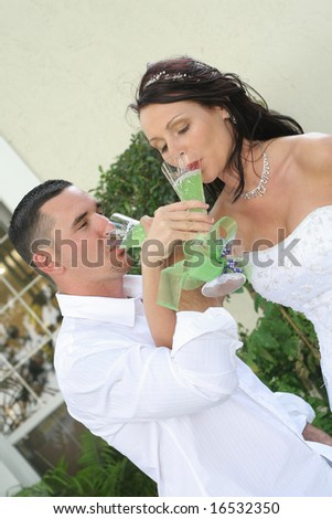 bride and groom toast vertical - stock photo