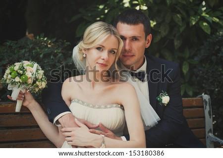 bride and groom, wedding day - stock photo