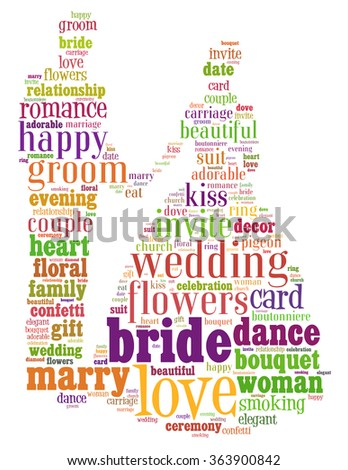 Bride and groom wedding, word cloud concept on white background.