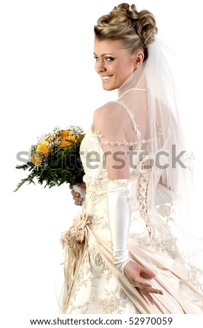 Bride. Beautiful woman in a wedding dress.