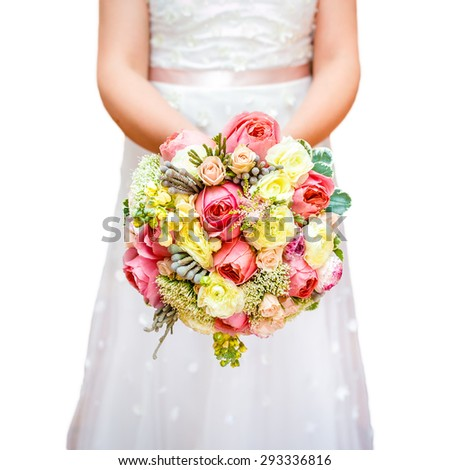 Bride flowers in hand isolated on white - stock photo