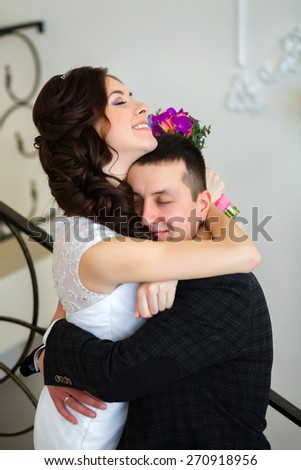 Bride groom hugging - stock photo