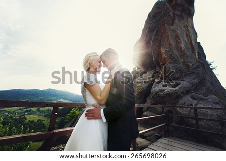 bride groom on mountain - stock photo