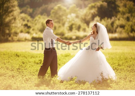 bride groom wedding day outdoors summer marriage, loving couple on nature catering bridal ceremony, sunset, soft light, series