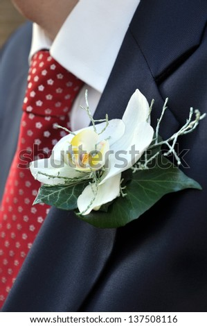 Bride Grooms' Flowers for The Buttonhole - stock photo