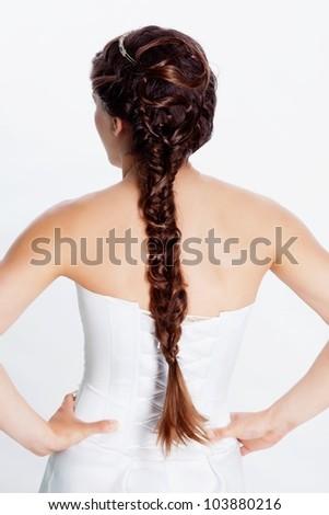 Bride hairstyle photo in studio - stock photo