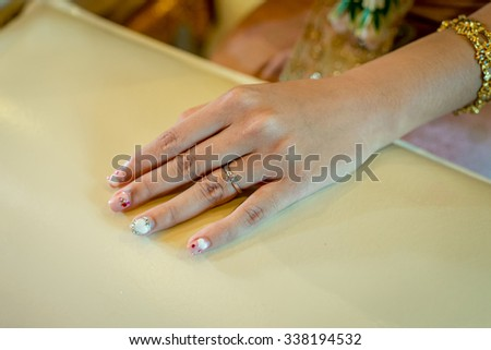 Bride hand closeup - stock photo