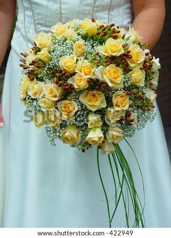 Bride holding her bridal bouquet - stock photo