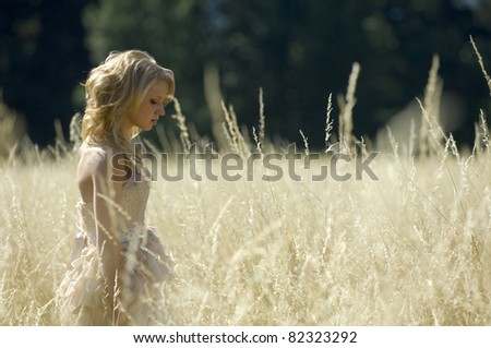 Bride in a golden field in summer afternoon - stock photo