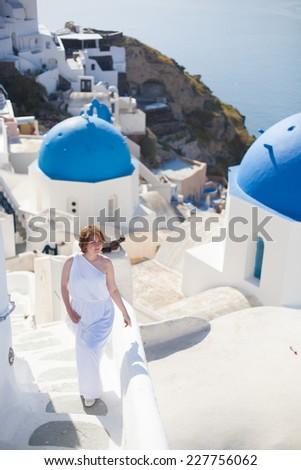 Bride in Santorini, Greece  - stock photo