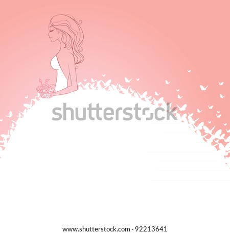 Bride in white dress - stock photo