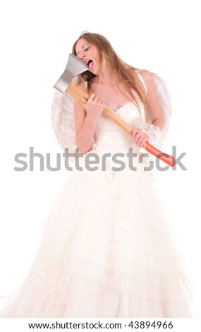 bride-lumberjack isolated with white - stock photo