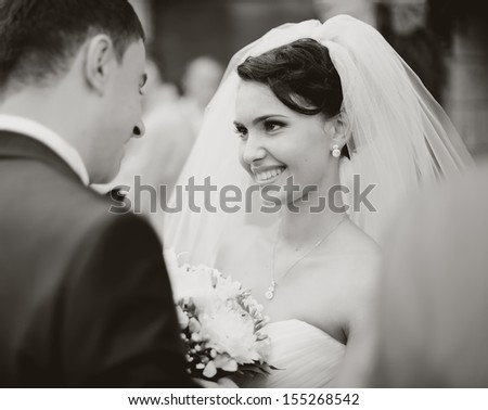 bride meets groom on a wedding day, black and white