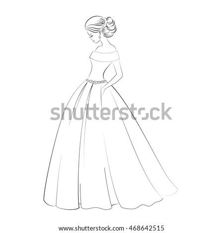 Bride Model Contour Outline Illustration Pretty Stock Illustration ...
