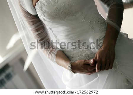 Bride nervous before wedding ceremony