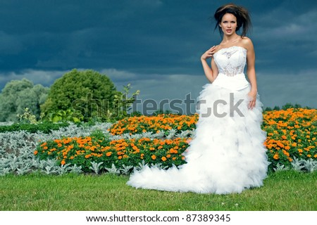 Bride on a background of black clouds and flower beds