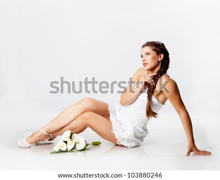 Bride portrait with callas flowers - stock photo