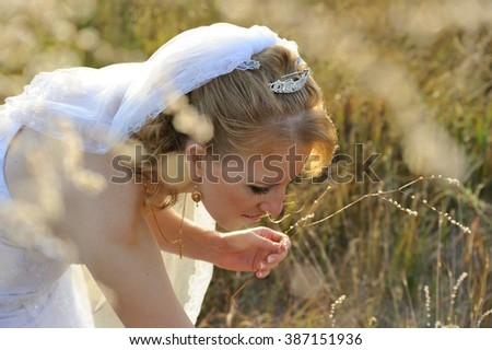 Bride Posing in the Field, filled with sunlight