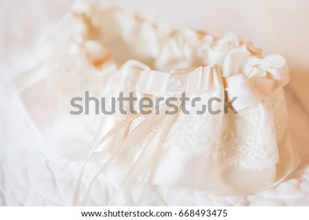 Brides Garter Brides Traditional Symbolic Accessory Stock Photo