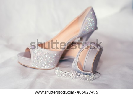 Bride's high heel shoes and jewelry. Wedding illustration image. - stock photo