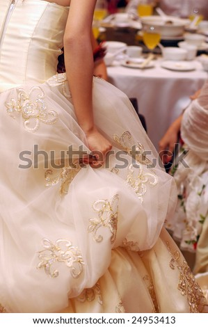 bride's wedding gown - stock photo