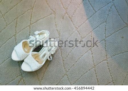 Bride Shoe, bride wedding shoe, woman shoe, Bride Shoe on carpet - stock photo