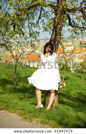 Bride standing in a tree - stock photo