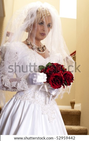 Bride Striptease Series #2 - stock photo