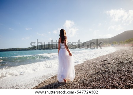 bride travel beach resort. Sea view and beach in tropics