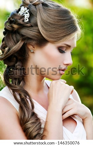 Bride. Wedding hairstyle - stock photo